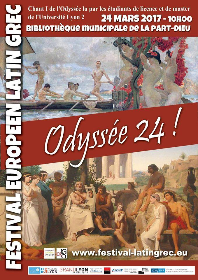 24 mars, 10H (heure française): 140 lectures publiques de L'Odyssée dans le monde et 24 à Lyon, dont celle du groupe constitué par l'Université Lumière Lyon 2. Découvrez sa superbe affiche !