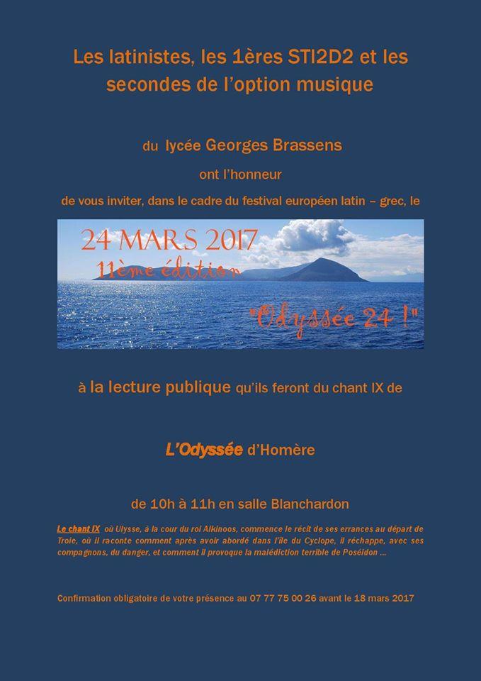 Avis aux Ligériens ! Le 24 mars, le Lycée G. Brassens de Rive-de-Gier (Loire) lance une invitation à la lecture publique du chant 9 de L'Odyssée !