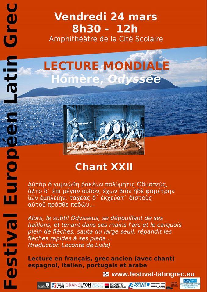 Matinée homérique à Briey en Meurthe-et-Moselle : un débat sur l'utilité de lire Homère aujourd'hui .. et une superbe affiche aux couleurs du festival pour annoncer la lecture de 10H !